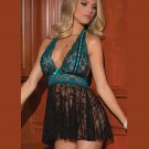 Hot Sexy Backless Lace Turquoise Babydoll Lingerie with Panties W5502
