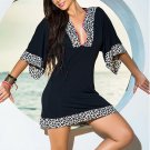New Arrival Sexy Black / Animal Print Woman Beach Dress W4011
