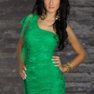 One Shoulder Round Neck Sexy Green Lace Dress for Woman W5427