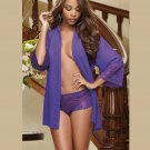 Short Sleepshirts Long Sleeve Allure Purple Transparent Nightie Lingerie W385495A