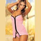 Woman Pink Front Zipper Sexy Lingerie Thin and Close-fitting Nightgown W5493