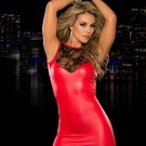 Summer Sleeveless Faux Leather Sinfully Red Sexy Lace Top Mini Dress W14005