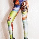 Women Mid Waist Sexy Animal Print Tiger Leggings Ankle-Length wl029