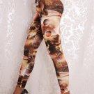 Mid Waist Sexy Heart-shape Yellow Planet Fashion Lady Beauty Galaxy Cute Leggings wl042