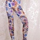 Women Mid Waist Sexy Romantic Blue Rose Manor Leggings Ankle-Length Print Leggings wl041