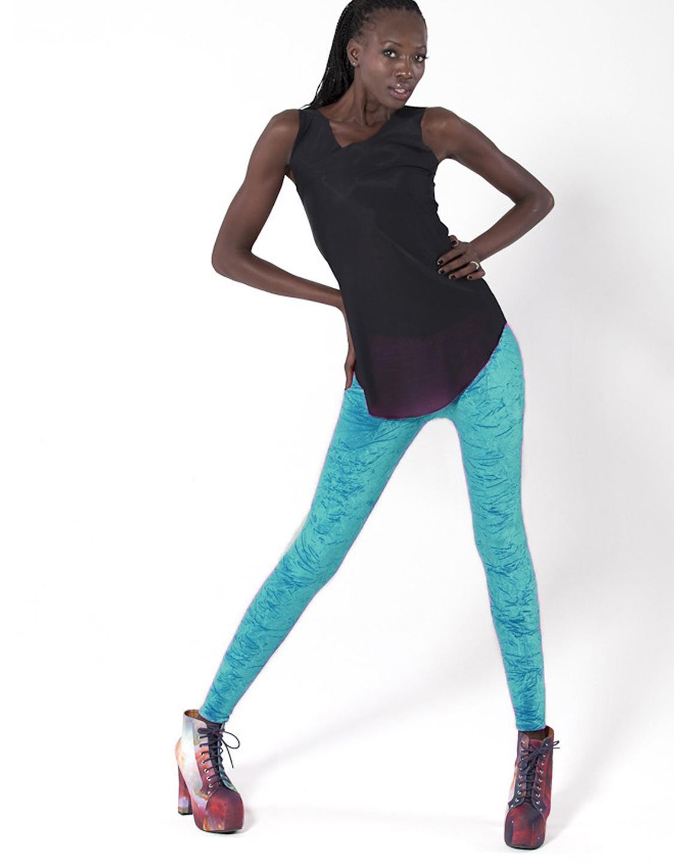 Mid Waist Lady Beauty Solid Blue Color Cute Winter Leggings wl8320