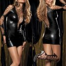 Hot Black Deep V-neck Women Lace Up Vinly Leather Clubwear Dress W377824