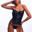 Woman Lace Up Zipper Stunning Black Overbust Corset with Panty W7906