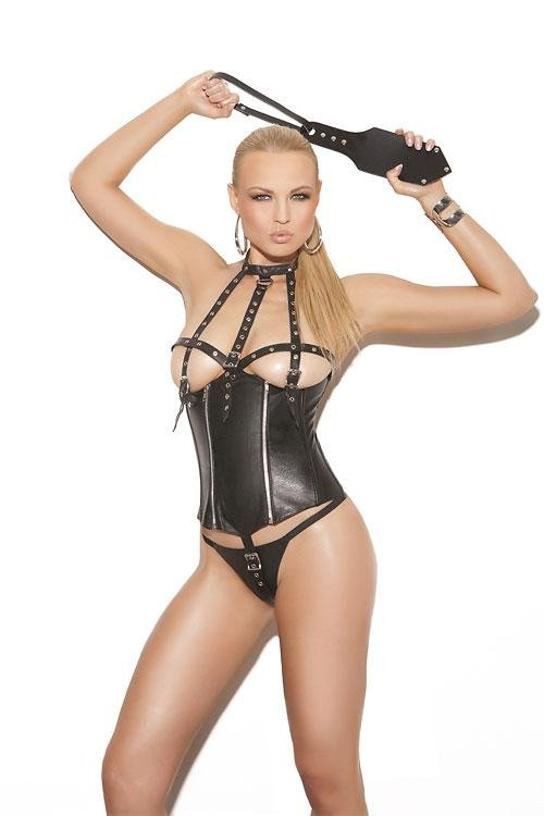 Sexy black catsuit Vinly lingerie Leather Adult Sexy Bodysuit W841103