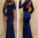 Floor Length Black Deep Blue Evening Dress Long Sleeve Halter Backless Prom Dress W850462