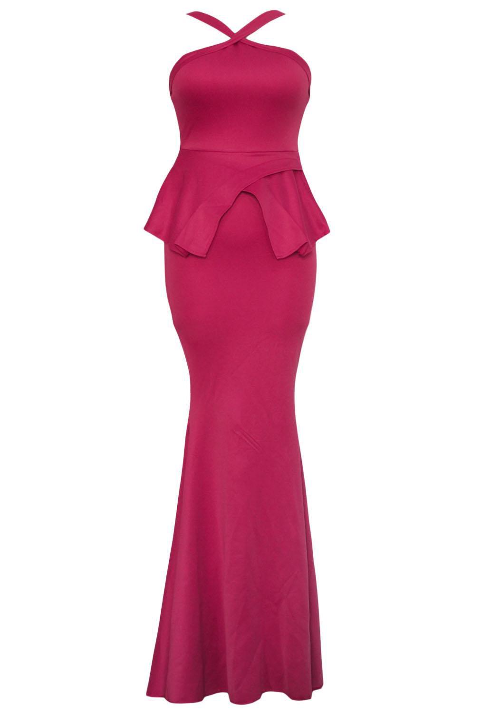 Ankle Length Sleeveless Dress Backless Sexy Peplum Prom Evening Dress W850457