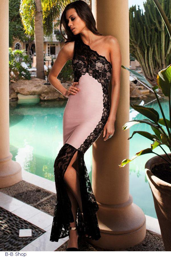 Pink Lace Detail One Shoulder Side Slit Maxi Dress Sexy Runway Dress Evening Dress W850422