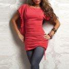 Pink Short Flutter Sleeve Charming Slash Neck Fashion Mini Casual Dress W3289