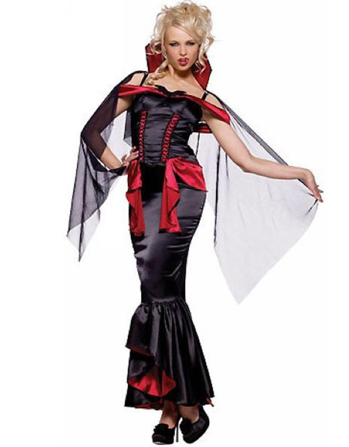 Female Halloween Fancy Dress Evil Black Sleeveless Sexy Vampire Costume W8373