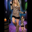 Female Fancy Dress Sexy 3PCs Cheetah-Luscious Costume W168614