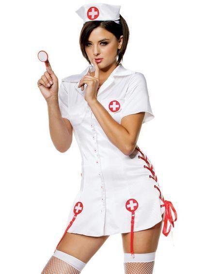 Halloween CosPlay Fancy Dress White Sexy Devil Nurse Costumes with Hat W8891