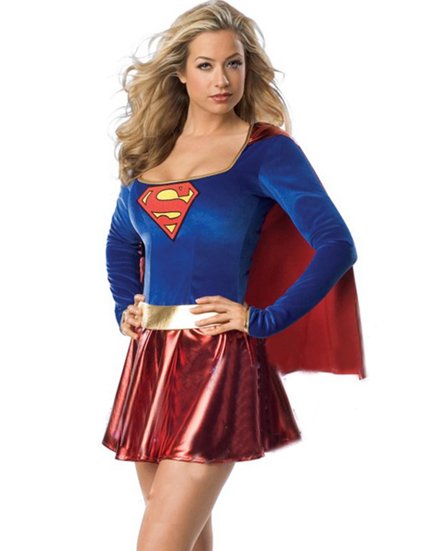 Super Heroine Uniform Adult DC Comics Costume Fancy Dress Stunning Supergirl Costume W208996