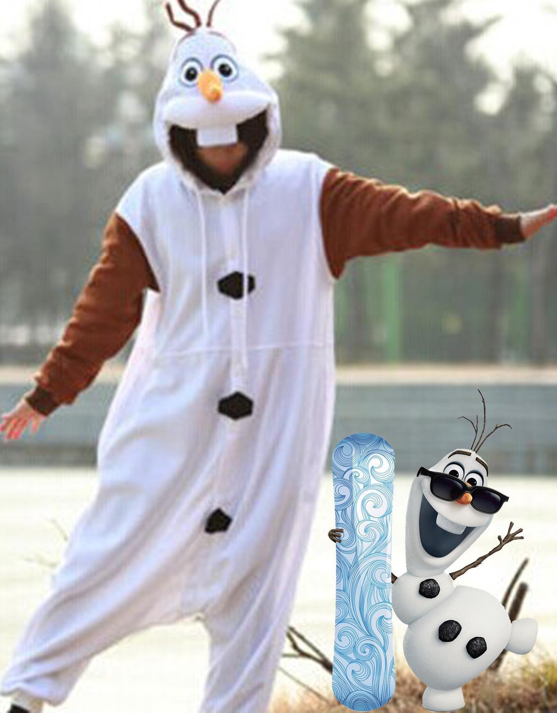 Carnival Faux Fur White Snowmen Fancy Dress Cosplay Costume Olaf Frozen Costume W099185