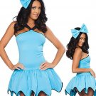 Carnival Fancy Dress Sleeveless Solid Blue Gear Hem Costume with Big Handband W292710