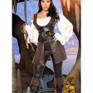 Sexy Uniform Deluxe Costume Adult Women Brown Halloween Pirate Fancy Dress w8910