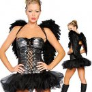Beautiful Sexy Lace Up Mystique All Saints' Day Halloween Dark Angel Costume W2609