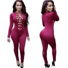 Purple Long Sleeve Jumpsuit Sexy Onesies Deep V Neck Lace Up Jumpsuit W860427C