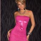 Purple Sexy Short Dress Summer Strapless Bowknot Ribbon Lace Mini Dress W203112B