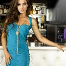 Blue Night Out Club Dress Woman Fashion Style Sexy Summer Draped Mini Dress W850480