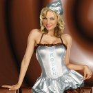 20% Discount Fancy Dress Halloween Carnival Sexy Adult Silver Foil Lame' Costume W329023