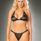 Plus Size XL Size Sexy Midnight Women Underwear Black Sexy Vinyl Lingerie Set W841101