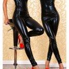 Black Faux Leather Jumpsuit Sexy Off-shoulder Wet Look PVC Jumpsuit W1132