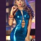 Blue Fashion Sexy Dress Women Halter Sleeveless Vinyl Faux Leather Night Out Club Dress W7928