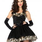 Winter Classic Fancy Dress Halloween Black And Leopard Print Furry Bunny Costume W348266