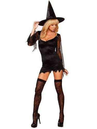 Deep v-neck Cobweb Mesh Long Sleeve Girl Cosplay Costume Black Sexy Witch Costume W208255