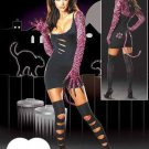 Round Neck Long Sleeve Dark Night Cat Fancy Dress Sexy Costume W8374