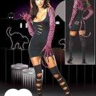 Round Neck Long Sleeve Dark Night Cat Fancy Dress Sexy Costume W8374