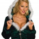 Green Front Zipper Long Sleeve Top Christmas Hoodies Costume Sexy Full Sleeve X-mas Outfit W4004B