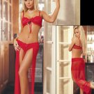 Red Two Pieces Sexy Women Lace Gown Erotic Lingerie Hot Long Sheer Lingerie W203639