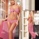 Brand Design Hot Pink Sexy Women Lace Gown Long Sheer Lingerie W203639