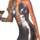 Silver Halter Sleeveless Vinyl Faux Leather Night Out Club Dress W7928