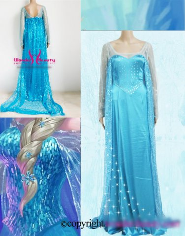 High Quality Blue Sequins Snow Princess Elsa Costume Fancy Dress W846131