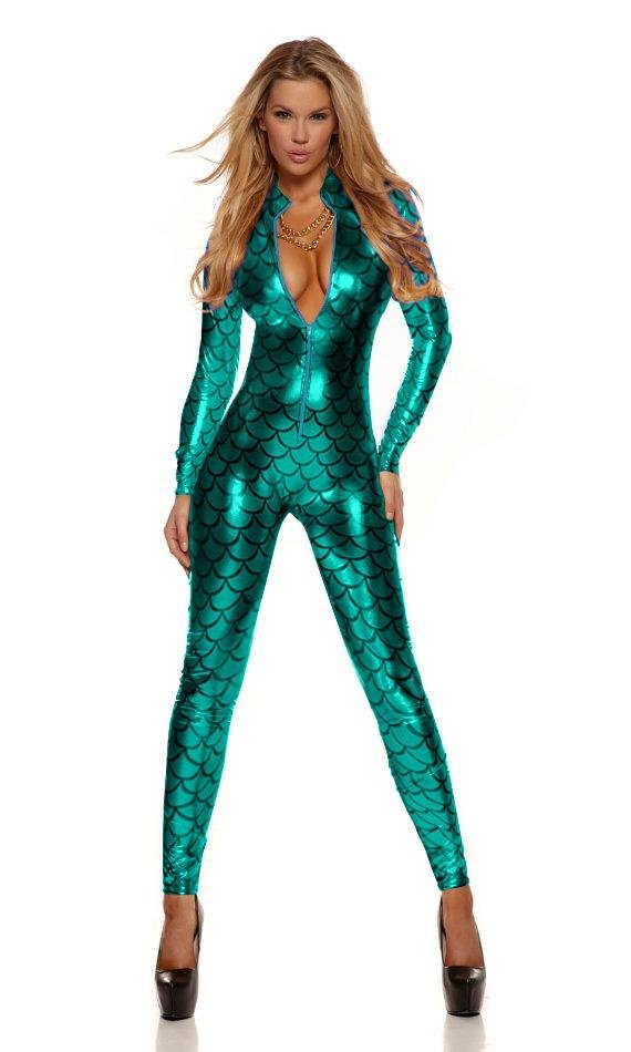 Sexy Metallic Fish Scales Mermaid Costume Fetish Bodysuit Green catsuit Vinly Leather 207995C