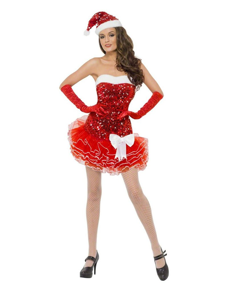 Off-shoulder Red Chiffon Sleeveless Sexy Santa Fancy Dress Sequin Women Christmas Costume W204033