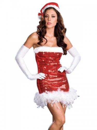 40% Saving Santa Gift Beautiful Fancy Dress Sexy Sequin Christmas Costume W4075