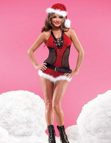 Xmas Fancy Dress Sexy Unusual Halter Mesh Dress Ladies Christmas Santa Lingerie Costume W324007