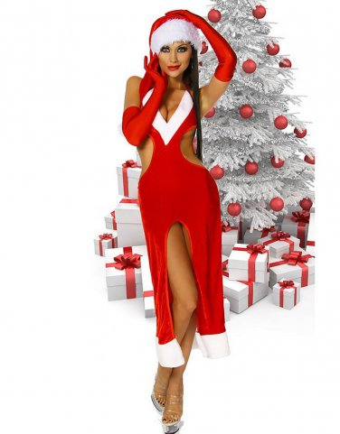 Santa Fancy Dress Hot Sexy Unusual Sexy Mrs. Claus Christmas Gown Costume W204027