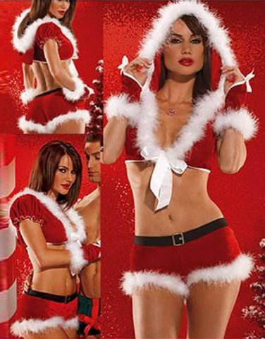 New Classic Two Pieces Cosplay Miss Santa Clause Sexy Christmas Costume W208532