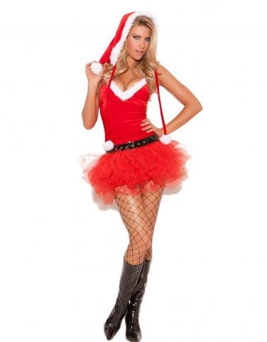 35% Off Good Quality Xmas Sexy Women Red V Neck Tutu Hem Christmas Costume W4059