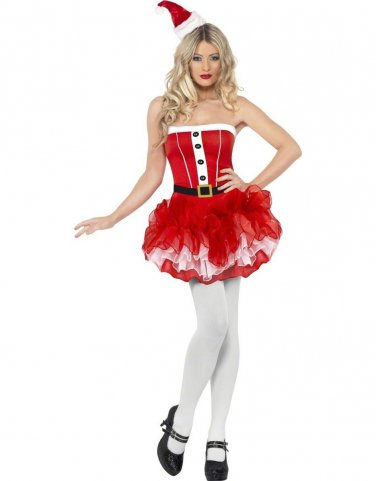Off-shoulder Sexy Christmas Costumes Miss Santa Fancy Dress with Hat and Belt W4015