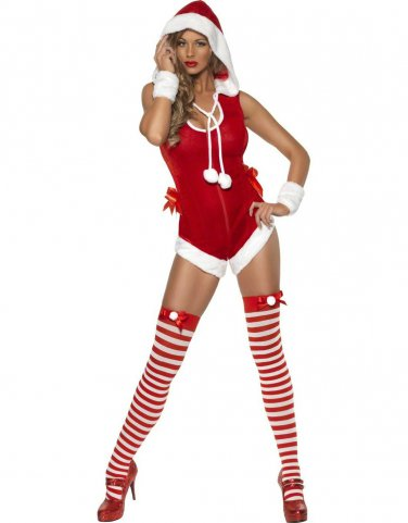 Free Shipping Good Quality Sexy Furry Christmas Bodysuit with Hat W4006
